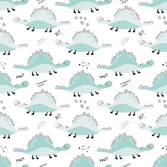 かわいい恐竜とのシームレスなパターン。