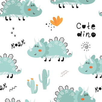 Seamless pattern with cute dinosaurs.