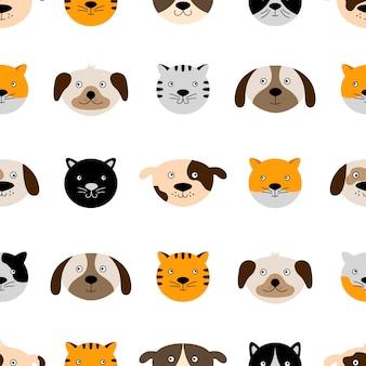 かわいい犬と猫の顔とのシームレスなパターン。