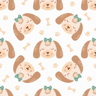 Seamless pattern with cute dog with bone, bow and trace. background with wild animals in flat style. illustration for kids. design for wallpaper, fabric, textiles, wrapping paper. vector