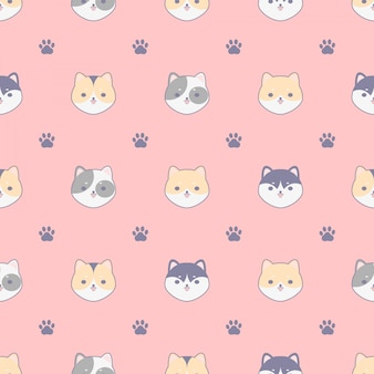 Seamless pattern with cute dogs and footprint, design for fabrics, textiles, wallpaper design concept.