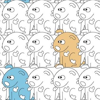 Бесшовный фон с милыми собаками. векторная иллюстрация с забавными щенками. фон для ткани, текстильного дизайна, оберточной бумаги или обоев.