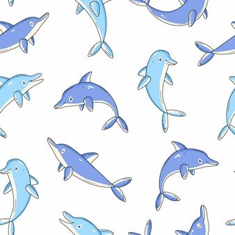Seamless pattern with cute dolphins in cartoon doodle style vector illustration background