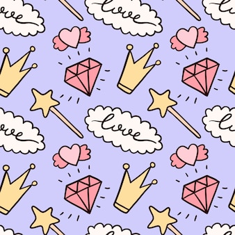 Seamless pattern with cute doodle isolated illustrations.