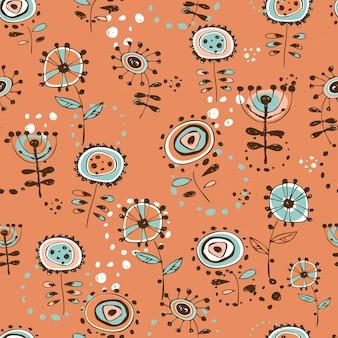 かわいい落書き風の花とのシームレスなパターン。オレンジ色の背景。