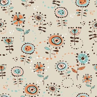 Seamless pattern with cute doodle-style flowers. vector.