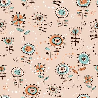 かわいい落書き風の花とのシームレスなパターン
