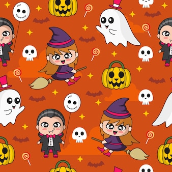Seamless pattern with a cute dracula and witch cute illustration halloween seamless pattern