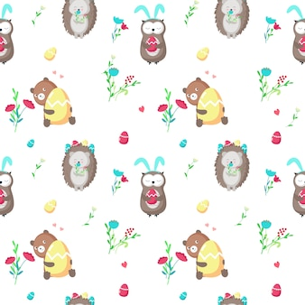 Seamless pattern with cute easter animals
