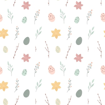Seamless pattern with cute easter eggs and flower illustration