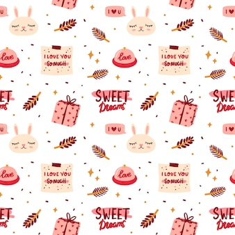Seamless pattern  with cute elements in romantic style.