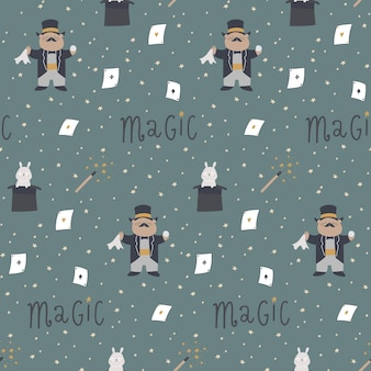 Seamless pattern with cute elements for tricks hat hare magic wand magic box dove cards