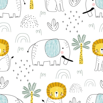 Seamless pattern with cute elephant animals and decorative elements on a white background vector