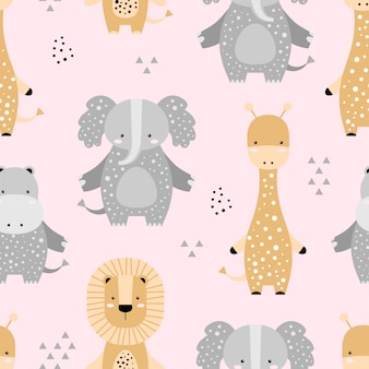 Seamless pattern with cute elephant, lion, giraffe, hippo