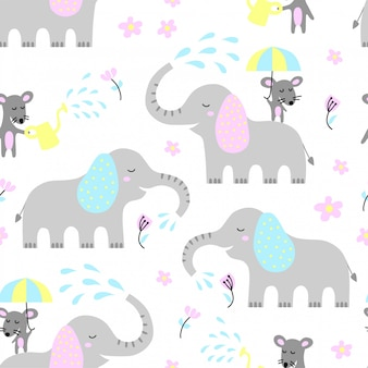 Seamless pattern with cute elephant and mouse