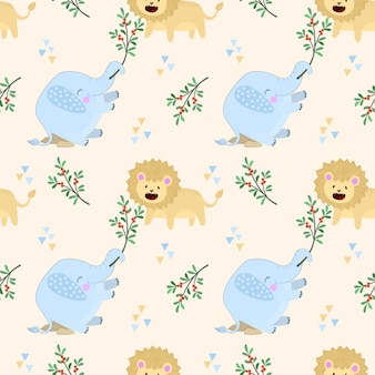 Seamless pattern with cute elephant play with lion.