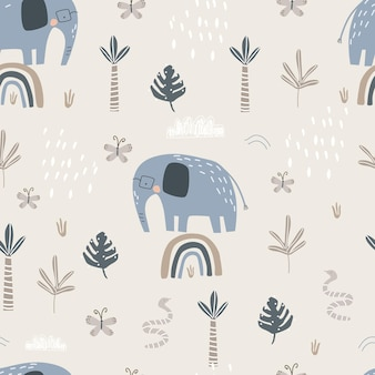 Seamless pattern with a cute elephant on a rainbow on a colored background vector illustration
