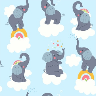 Seamless pattern with cute elephants and clouds. vector graphics.