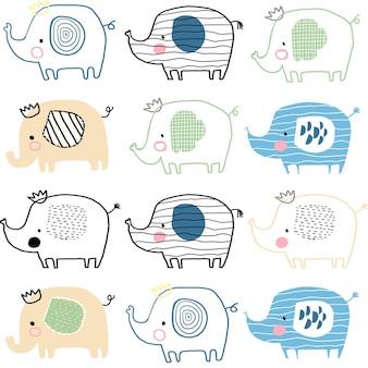귀여운 코끼리와 원활한 패턴 귀여운 어린이 배경 벡터 손으로 그린 그림