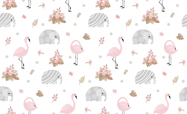 Seamless pattern with cute elephants