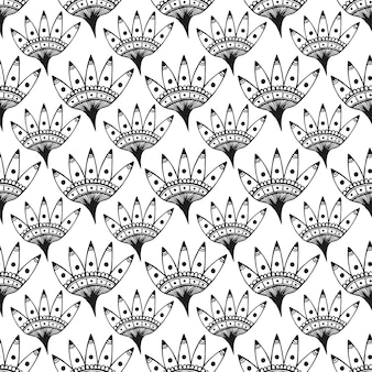 Seamless pattern with cute ethnic graphic flowers