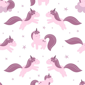 Seamless pattern with cute fairy unicorns, clouds, stars. decor for a nursery, packaging, wallpaper, print for clothes. vector illustration in flat style, child character