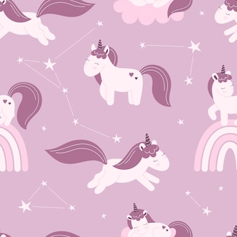 Seamless pattern with cute fairy unicorns, stars. decor for a nursery, wallpaper, print for clothes.