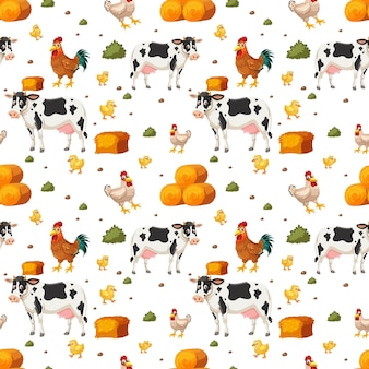 Seamless pattern with cute farm animals cartoon character
