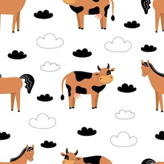 흰색 바탕에 귀여운 농장 동물과 함께 완벽 한 패턴입니다. 암소와 말. 평면 벡터 일러스트 레이 션