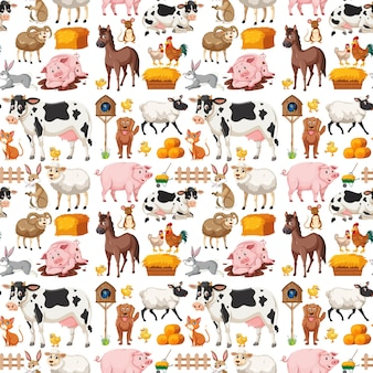 Seamless pattern with cute farm animals on white background