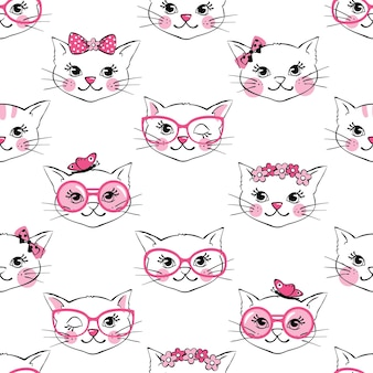Seamless pattern with cute fashion cats isolated on white background.