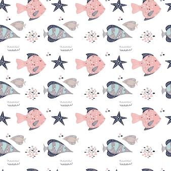 귀여운 물고기와 starfishes 완벽 한 패턴입니다.
