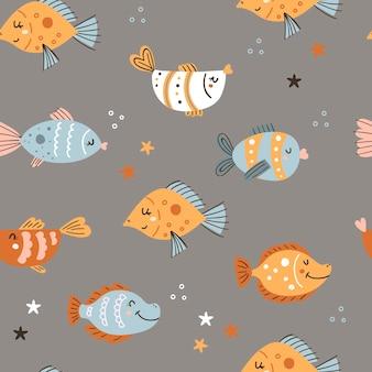 Бесшовный фон с милыми рыбками