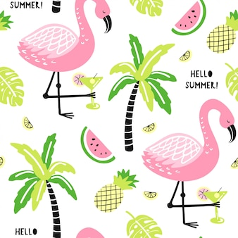 Seamless pattern with cute flamingo, palm