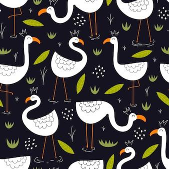 귀여운 플라밍고와 완벽 한 패턴