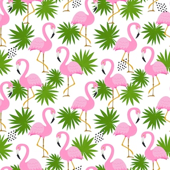 Seamless pattern with cute flamingos