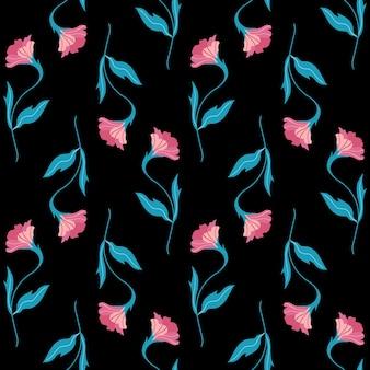 귀여운 플랫 꽃으로 완벽 한 패턴입니다. 검은 배경에 손으로 그린 벡터 일러스트 레이 션.