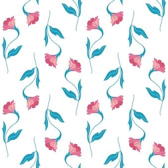かわいい平らな花とのシームレスなパターン。白い背景の上の手描きのベクトルイラスト。印刷、ファブリック、テキスタイル、壁紙のテクスチャ。