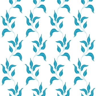 귀여운 평평한 꽃과 잎으로 된 매끄러운 패턴입니다. 흰색 바탕에 손으로 그린 벡터 일러스트 레이 션. 인쇄, 직물, 섬유, 벽지 질감.