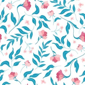 かわいい平らな花と葉とのシームレスなパターン。手で書いた。