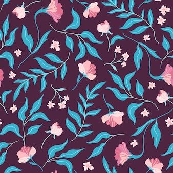 かわいい平らな花と葉とのシームレスなパターン