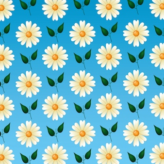 Seamless pattern with cute flowers and leaves