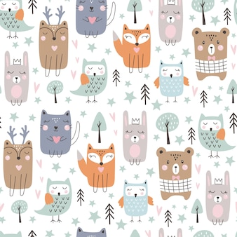 Seamless pattern with cute forest animals. hand drawn style.