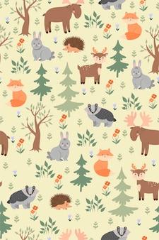 Бесшовный фон с милыми лесными животными.