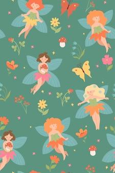 かわいい森の妖精とのシームレスなパターン。