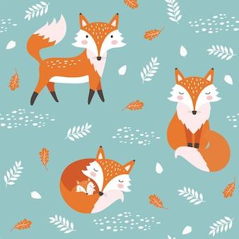 Seamless pattern with cute fox. childish print.