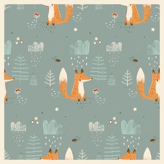 森のかわいいキツネとのシームレスなパターン手描きベクトルイラスト