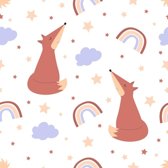 Seamless pattern with cute fox for kids illustration for nursery posters patterns wallpapers Premium Vector