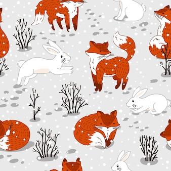 Бесшовный фон с милыми лисами и кроликом. зима