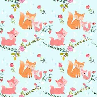 かわいいキツネと花のベクトルデザインとのシームレスなパターン